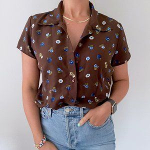 Vintage • Ditsy Floral Brown Button Down Blouse